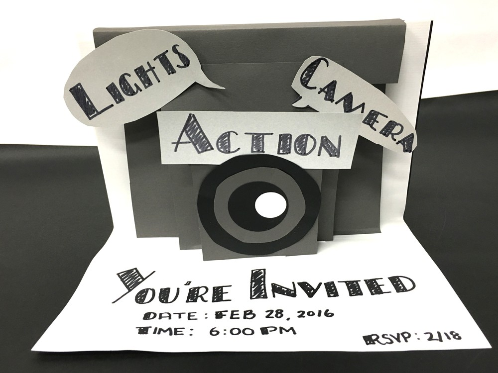 grey black and white diy lights camera action oscar party invitations