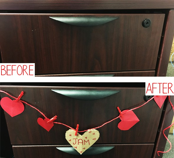 dark wood drawer before and after decoration with diy red heart banner