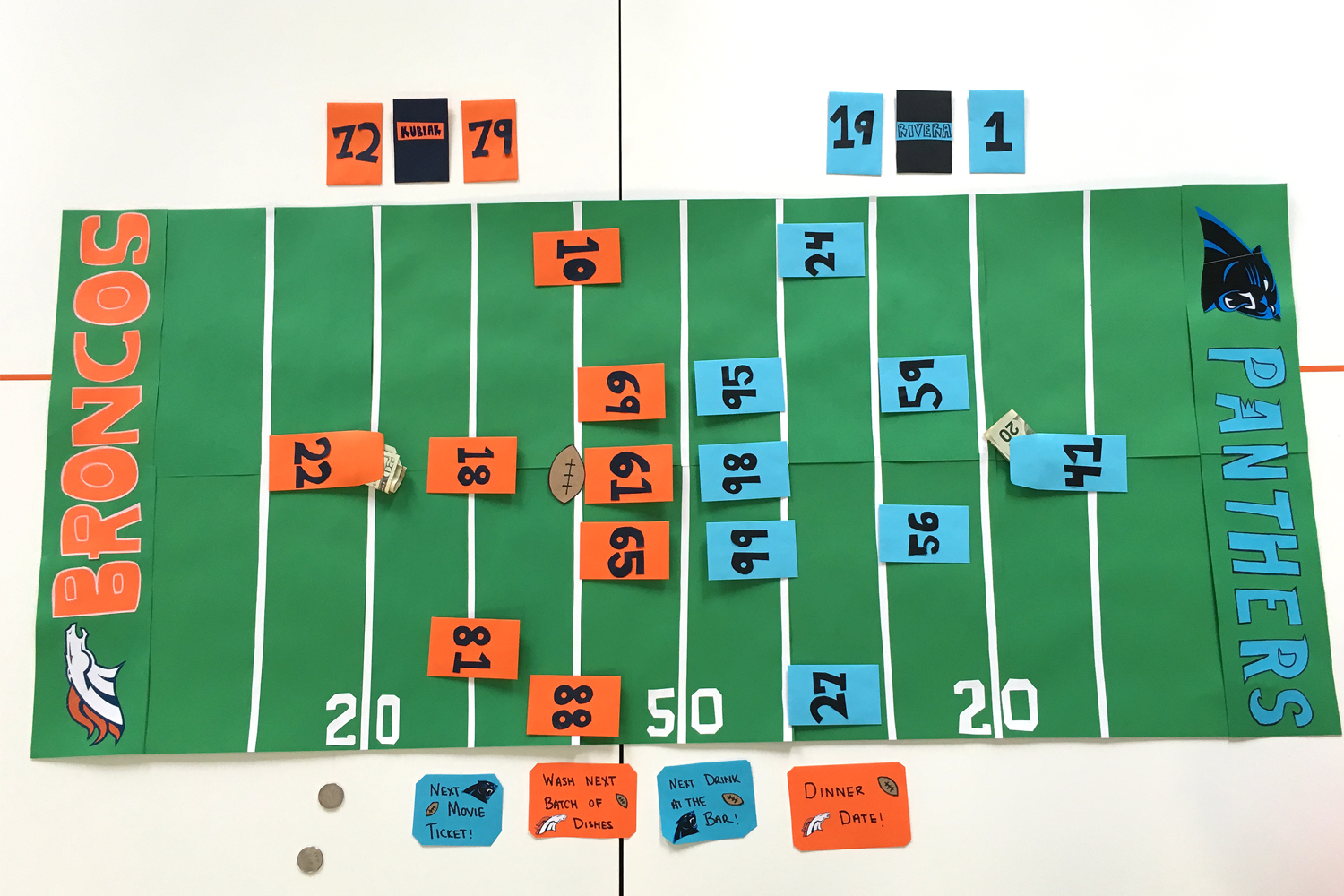 super bowl betting game full board with game pieces