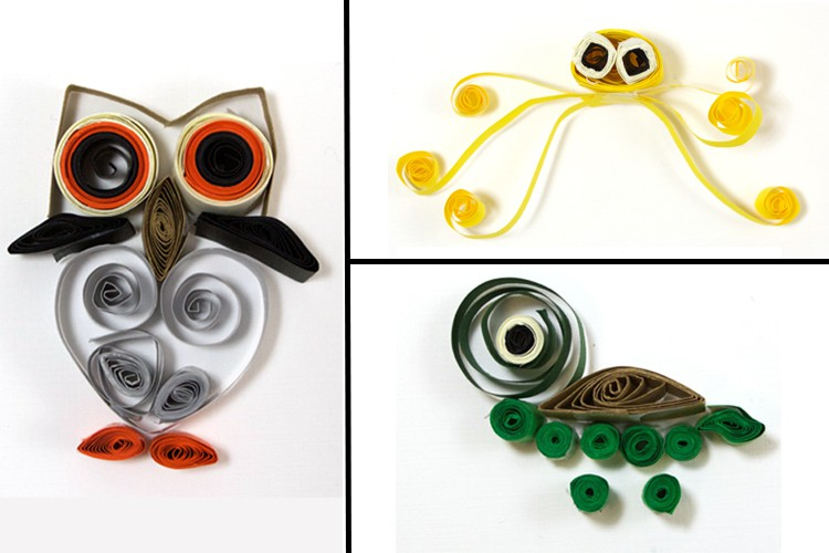 What is quilling? colorful paper animals owl jellyfish and turtle