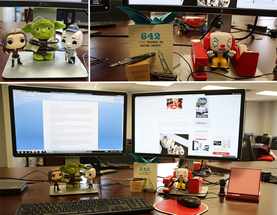 Decorated workspace - desktop monitors with bobbleheads