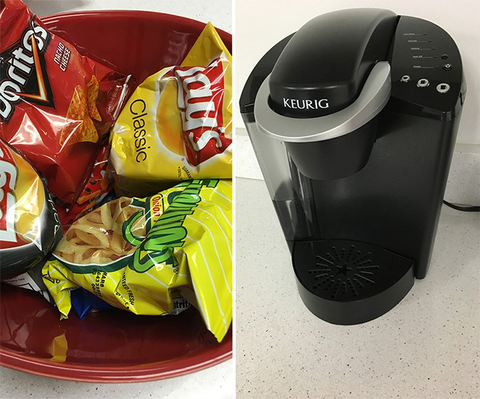 small bags of chips in a bowl and keurig machine for stress free office space