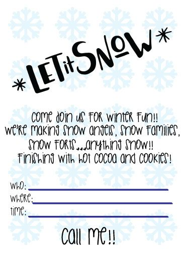winter invite template with blue snowflakes on white background and black text