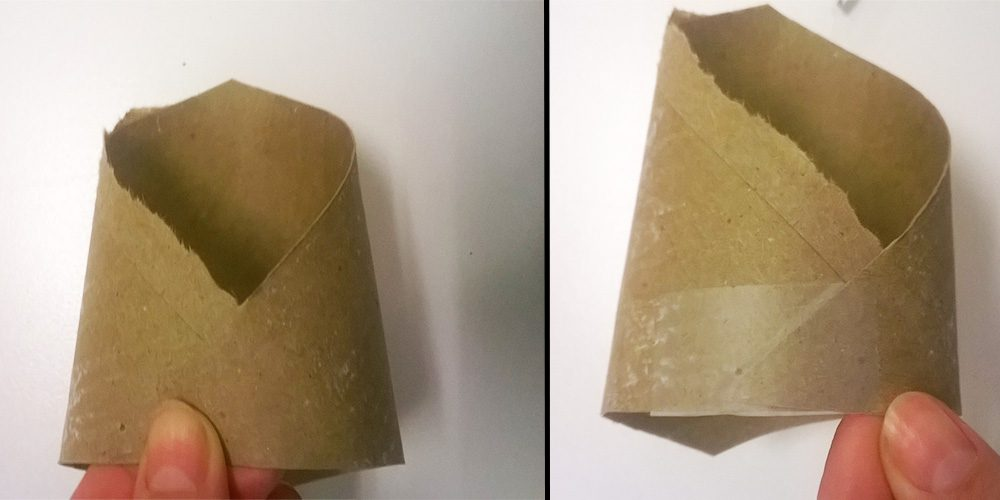 Toilet paper tube folded and taped at corners