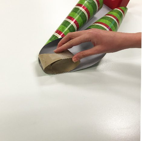 Taped toilet paper tube and wrapping paper