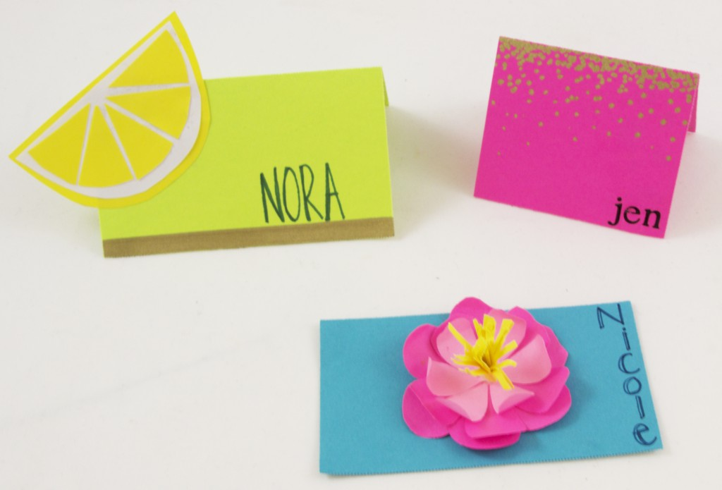 Three bright, bold, and unique place cards.