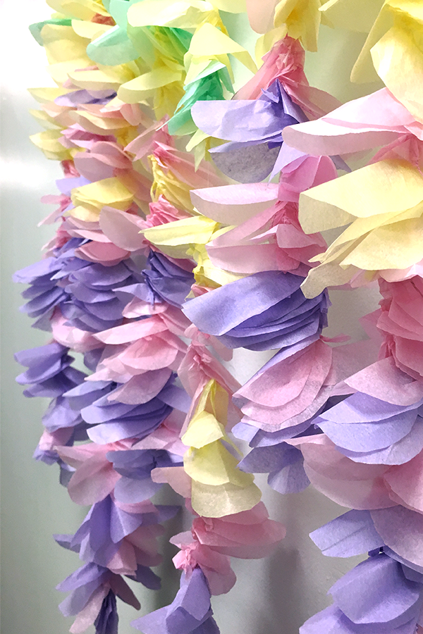 tissue paper flower garland, tissue paper, colored tissue paper