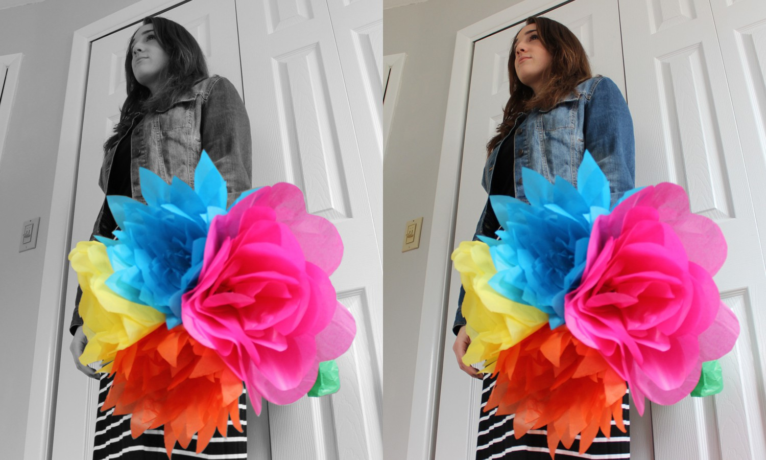 girl holding tissue paper flowers