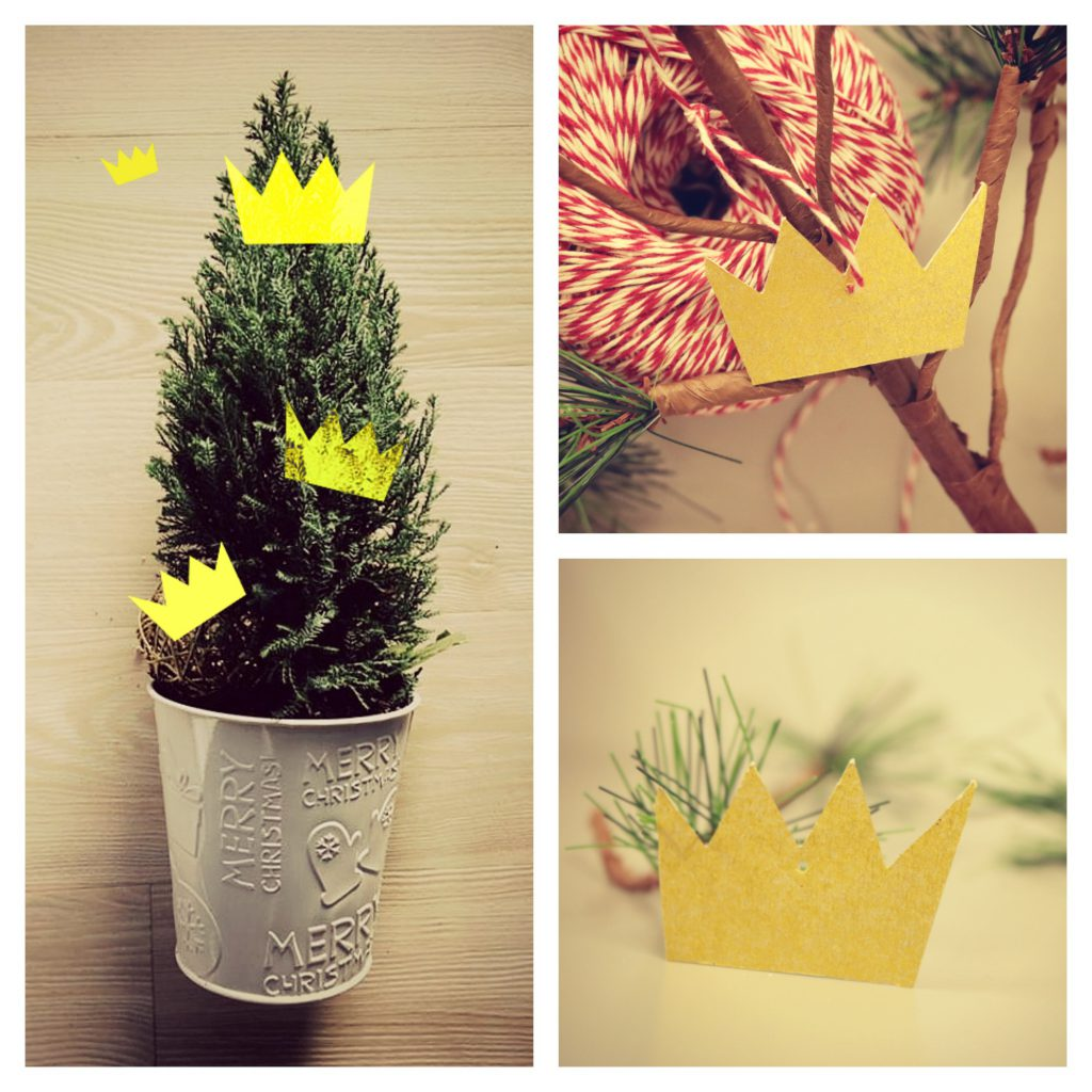 Crown paper ornaments made from metallic Kraft Paper