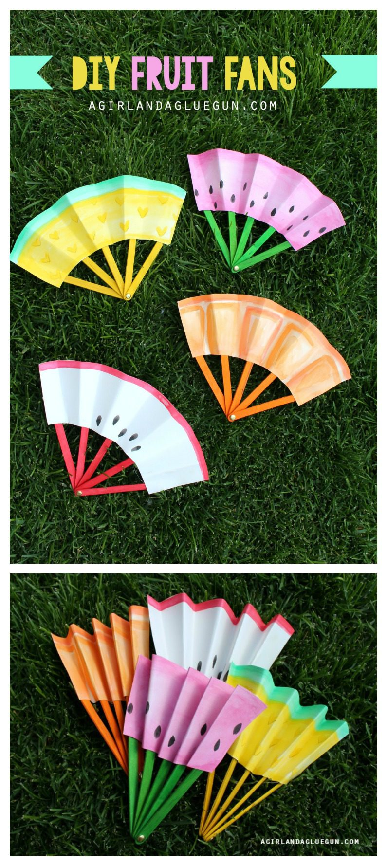 summer fun colorful diy fruit inspired paper folding fans on grass