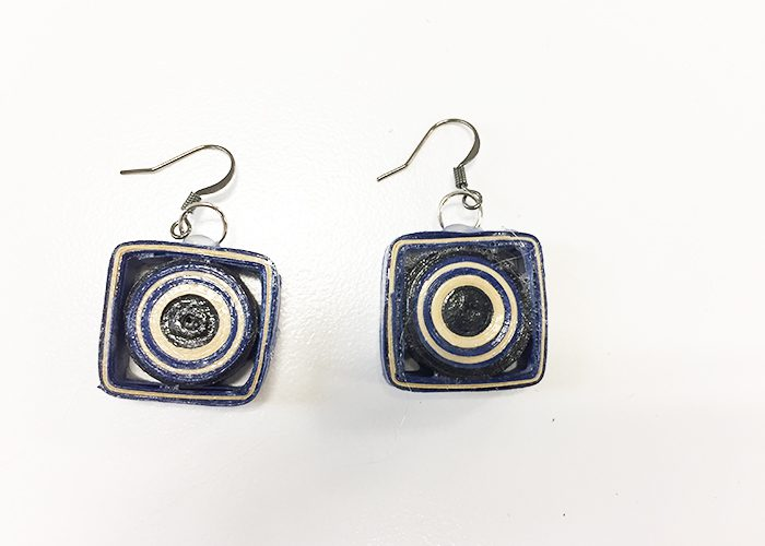 geometric square paper earrings set