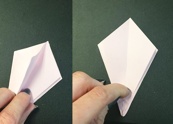 pink paper folded