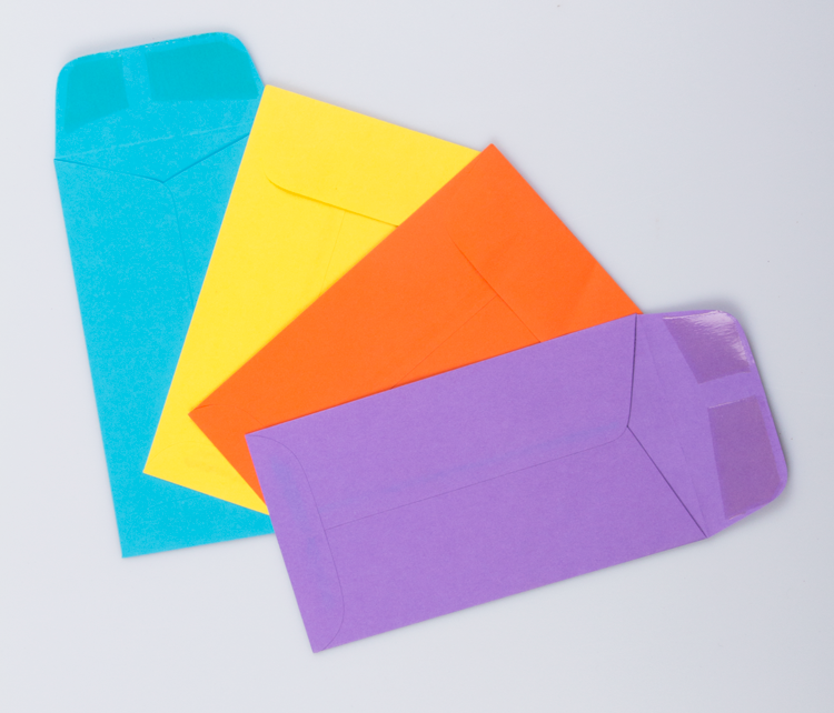 Money envelopes in assorted colors