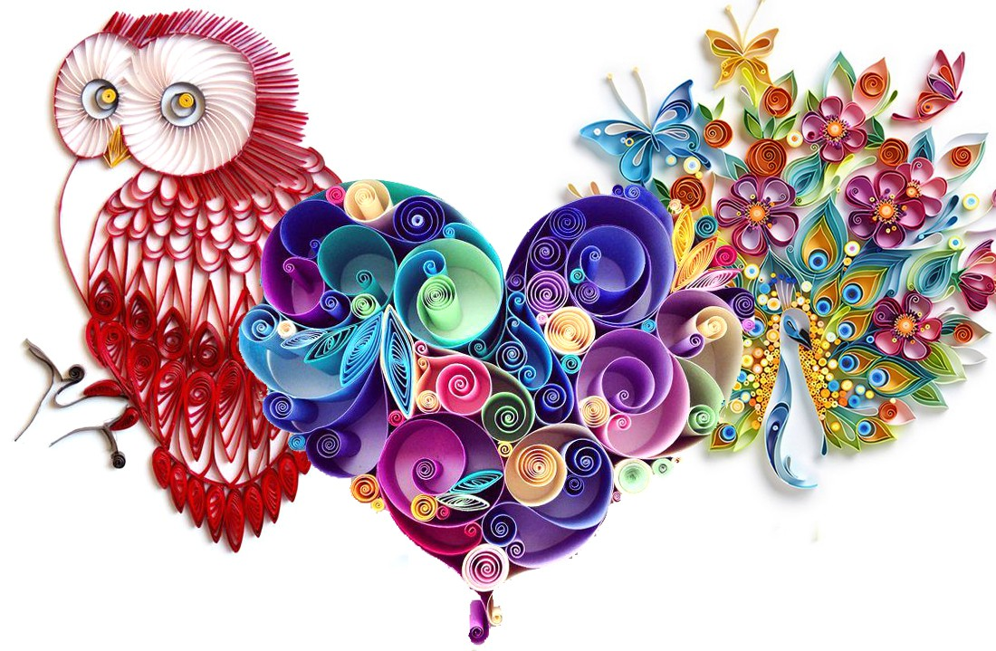 What is quilling? quilled detailed colorful crafts owl design and flowers and butterflies