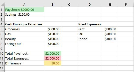 envelope system, budgeting, managing money, excel spreadsheet