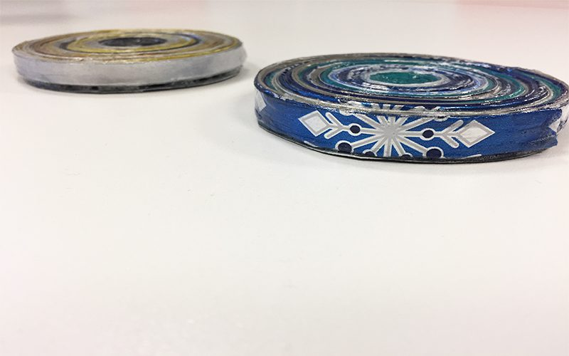 Make DIY Drink Coasters from Wrapping Paper Scraps, finished, finale, coasters, blue, silver, gold