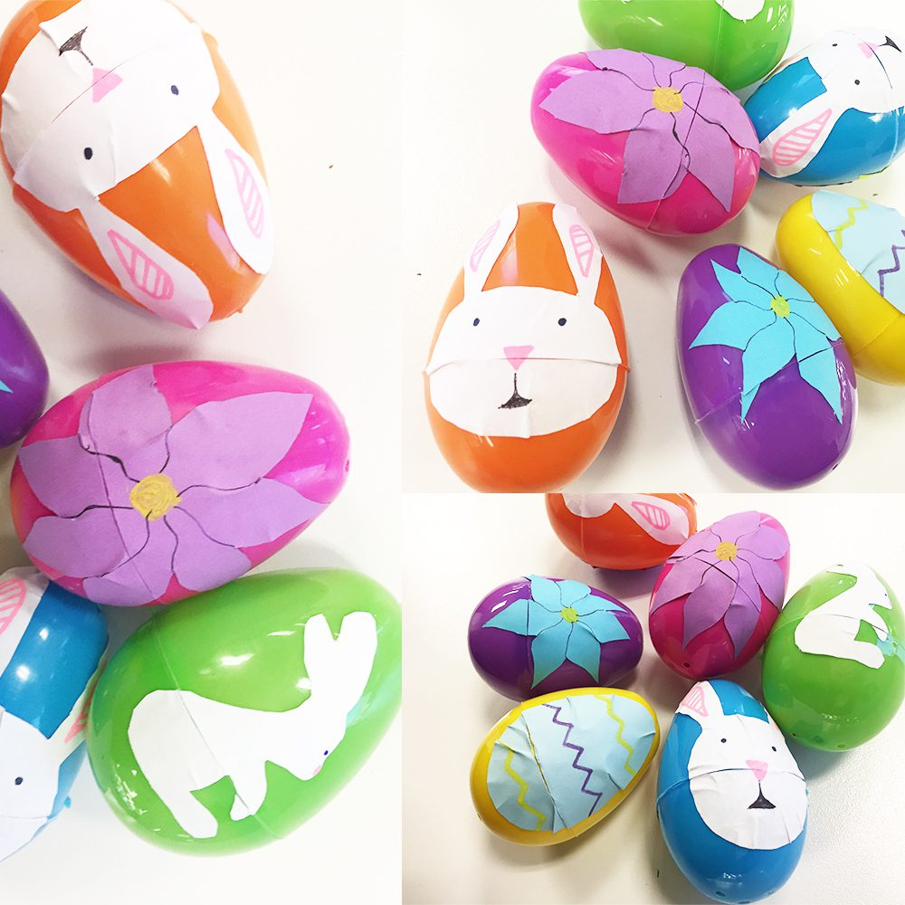 Easy DIY Easter Sticker Egg Decorations, eggs of different colors with East bunnies and flower label designs