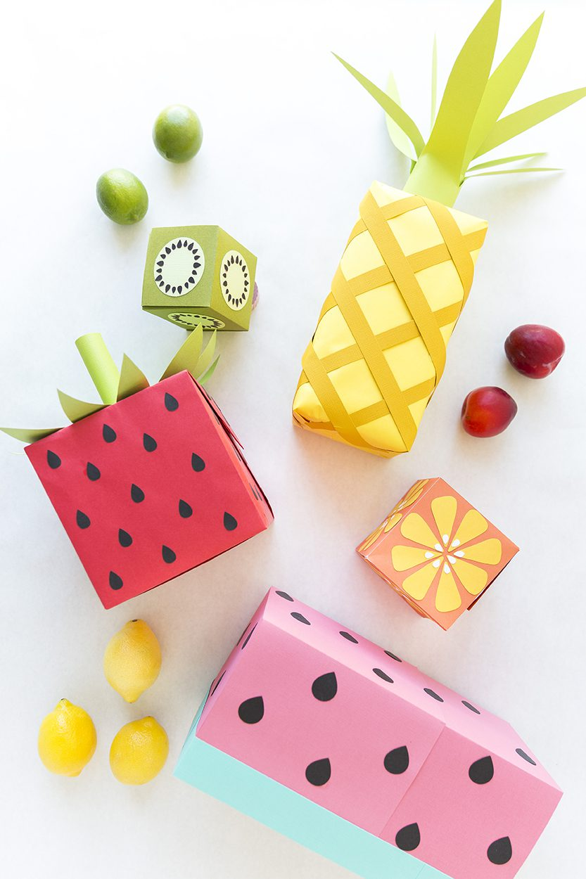 summer fun fruits inspired wrapping paper gift boxes