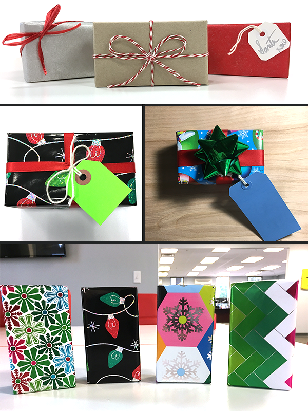 Wrapped presents of many different shapes and designs and colors
