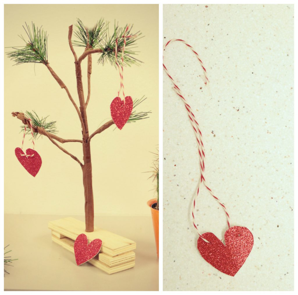 Heart shaped paper ornaments made from red glittery kraft