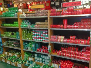 red and green ribbon on shelves