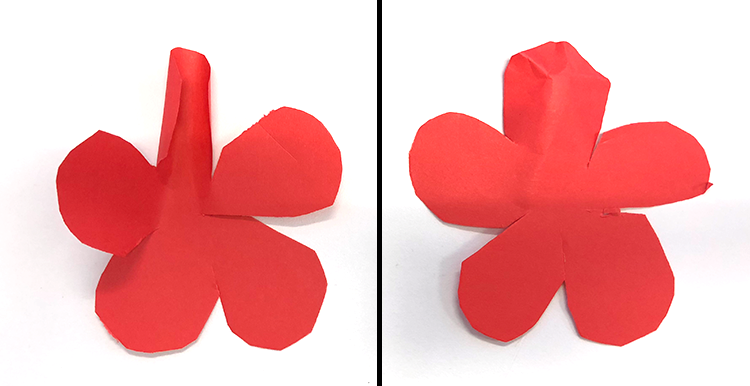 how to make paper roses, flower, bend outward and inward