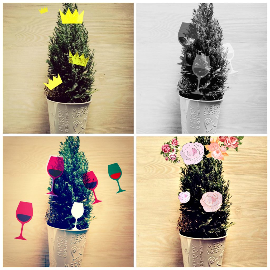 Wine glass, crown, and flower paper ornaments