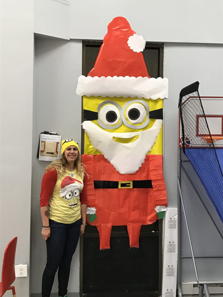 JAM employee, Santa minion Christmas window decoration