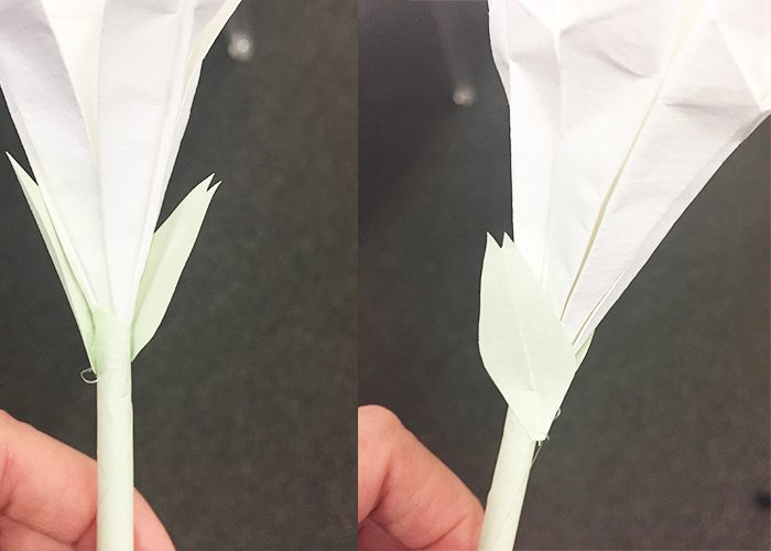 How To Make Origami Easter Lilies, leaves, lily, green parchment, flower