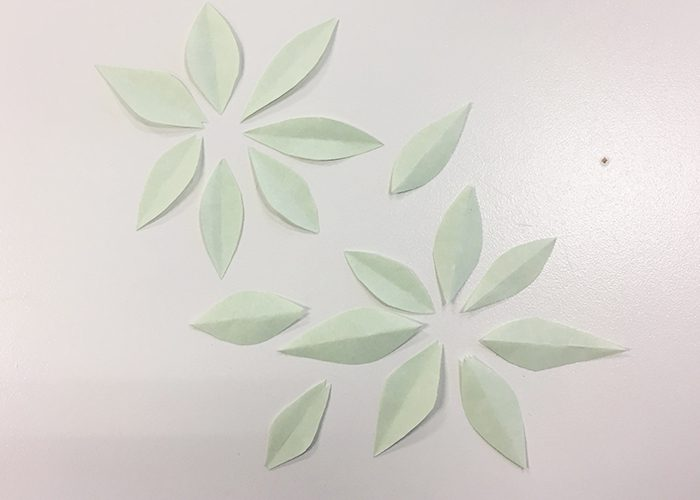 How To Make Paper Origami Easter Lilies, leaves, green, paper, light green, cut out
