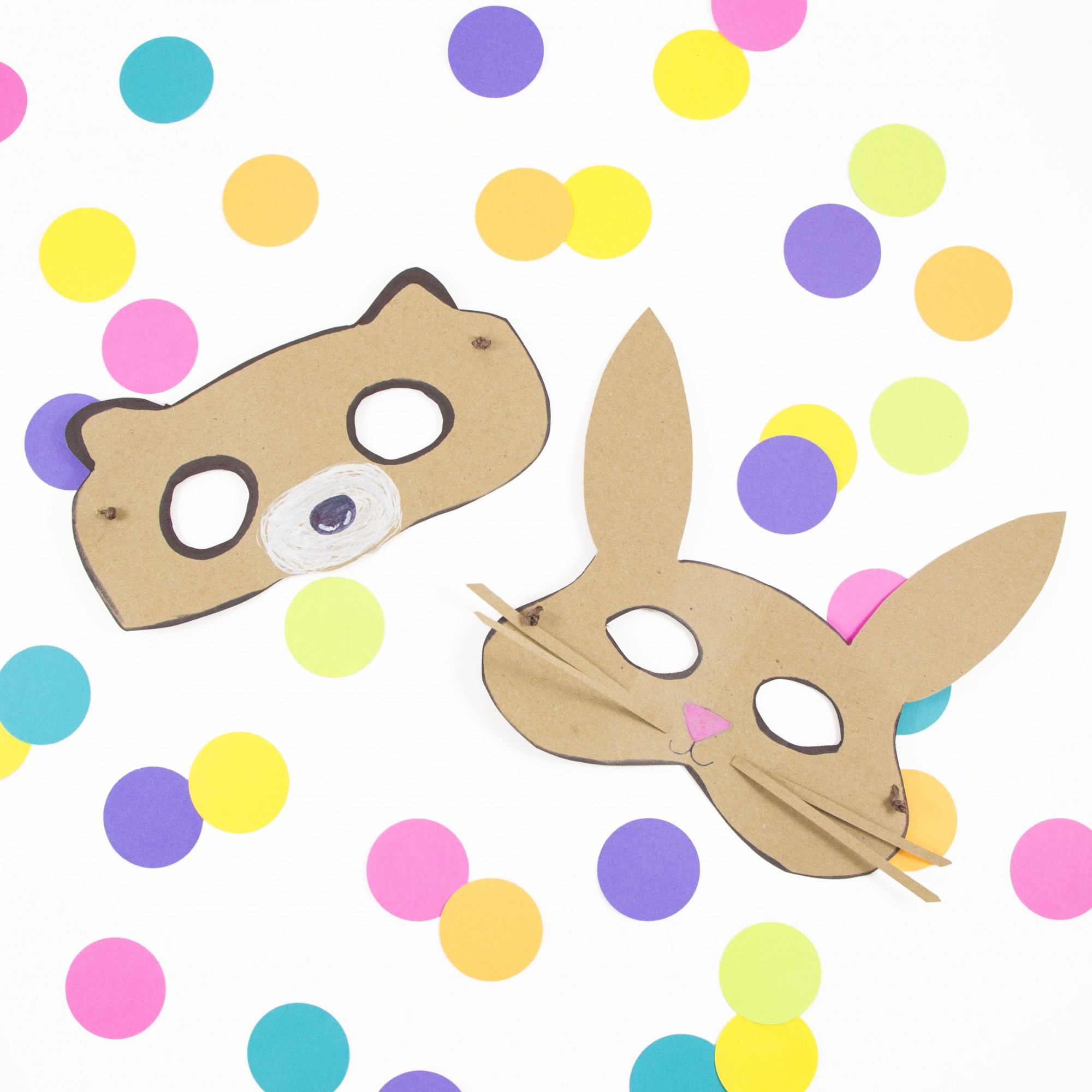 finished brown Kraft paper bear and bunny animal masks