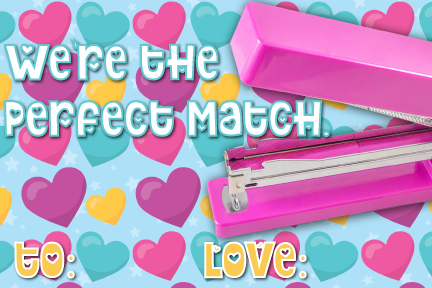 punny valentine's day cards, stapler, staples, perfect match