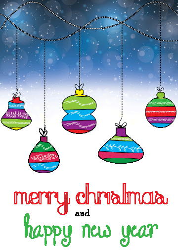 multicolored Christmas ornaments hanging on snowy background printable christmas cards