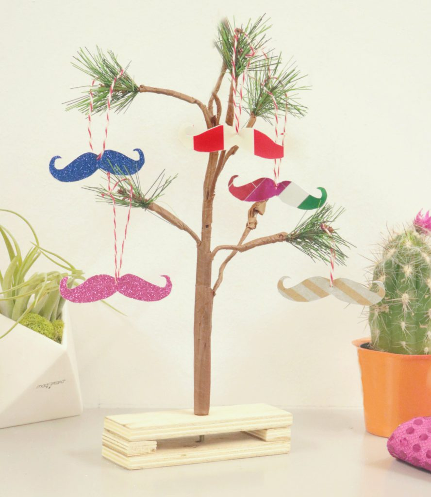 Small tree with paper mustache ornaments hung from it, and a small cactus