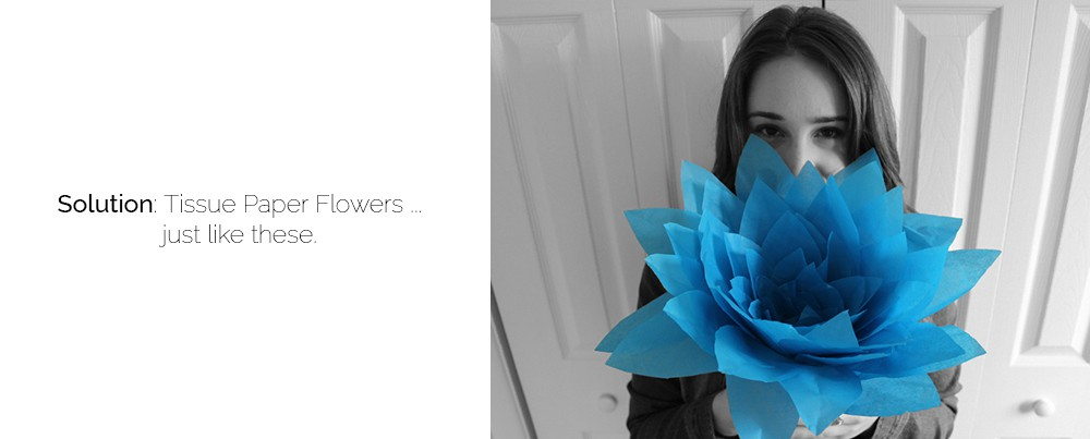 "girl holding blue tissue flower, ""solution: tissue paper flowers...just like these."""