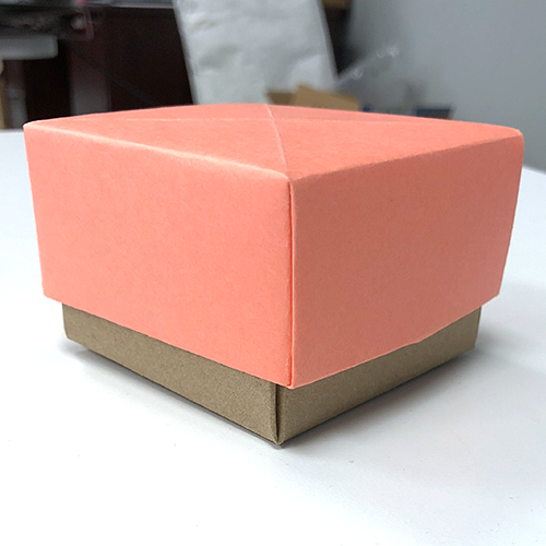 how to make a paper box, salmon pink paper, pink box