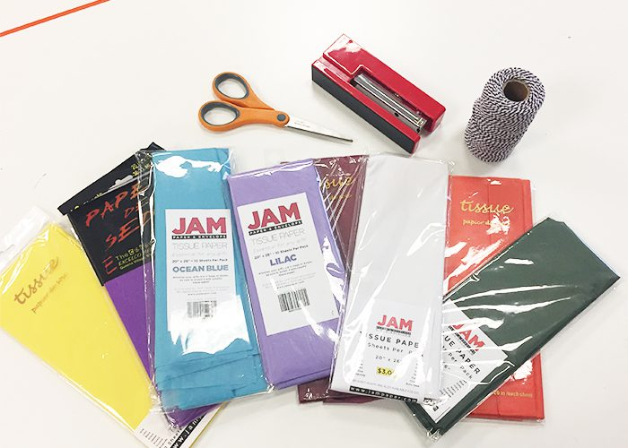 Art supplies or paper fans and pompom flowers: paper, tissue, twine, scissors, stapler