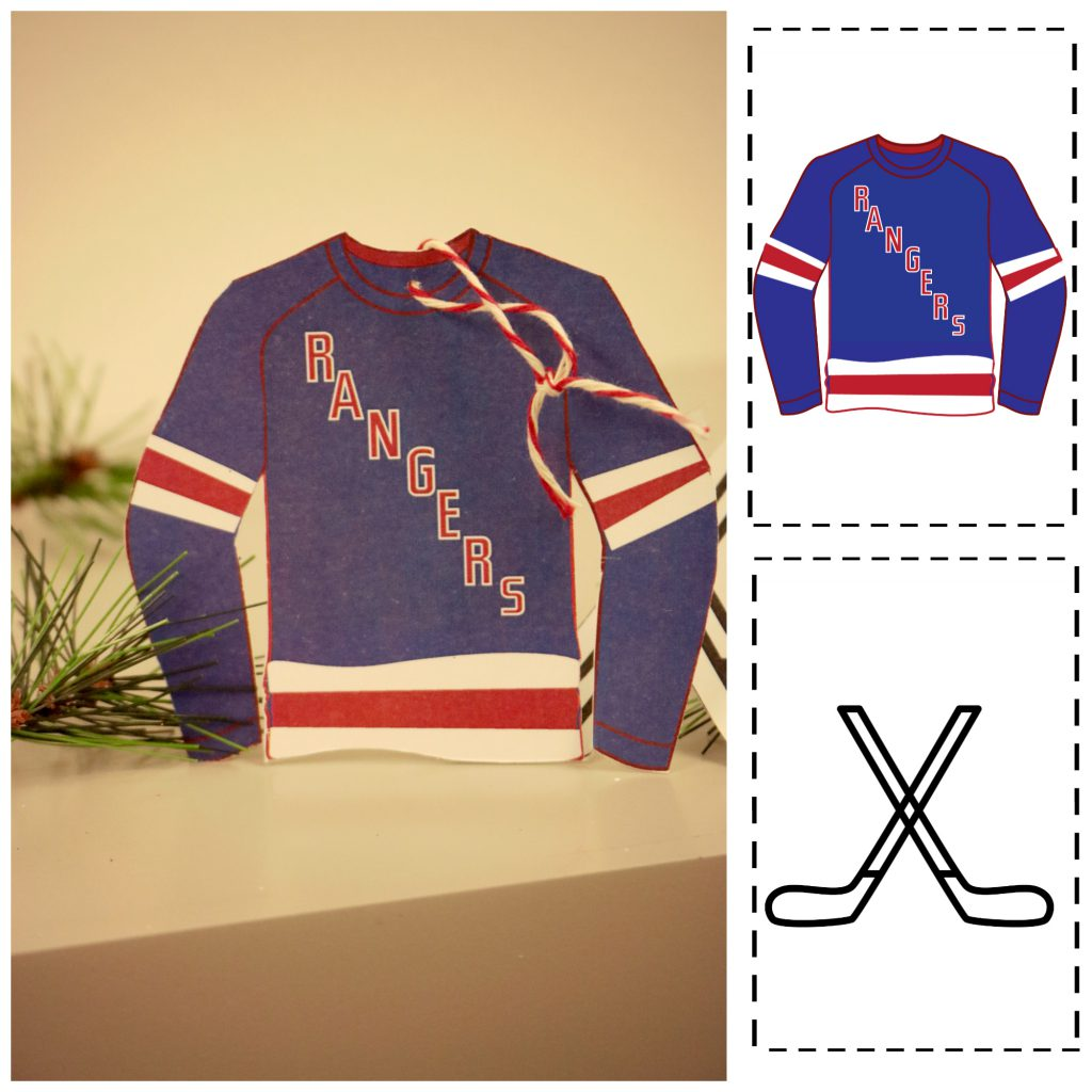 New York Rangers paper ornament made from template