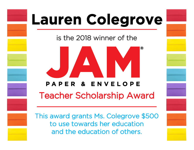 JAM Teacher Scholarship Winner 2018 certificate with colorful envelope border