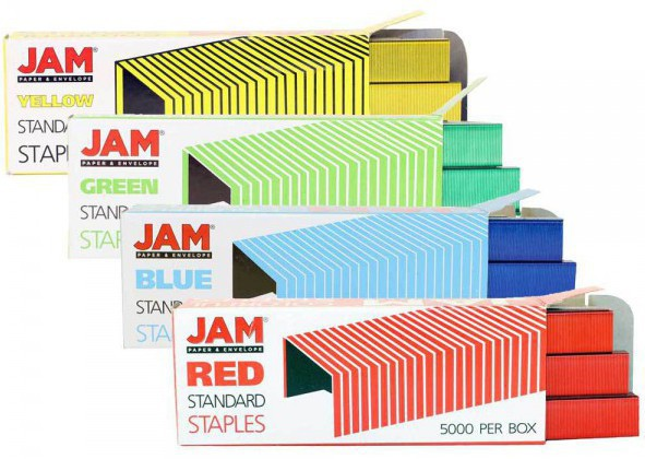 JAM standard colorful staples office supply in boxes yellow green blue red