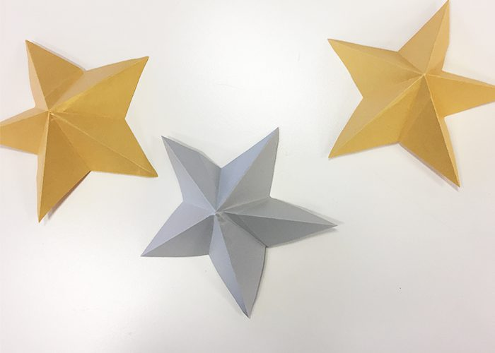 DIY Shiny Kirigami Stars for New Years, Silver, Gold, Stars, paper, folded