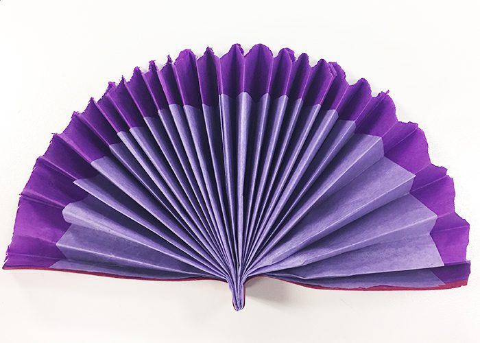Completed purple and white fan