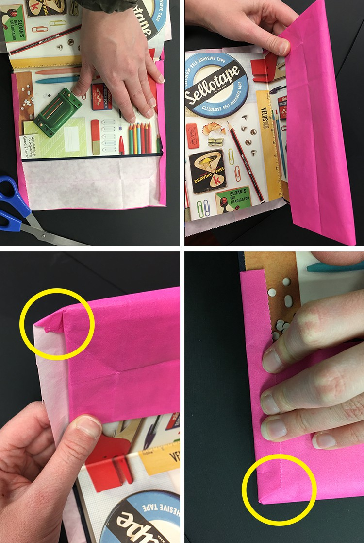 wrap and fold paper bag around book
