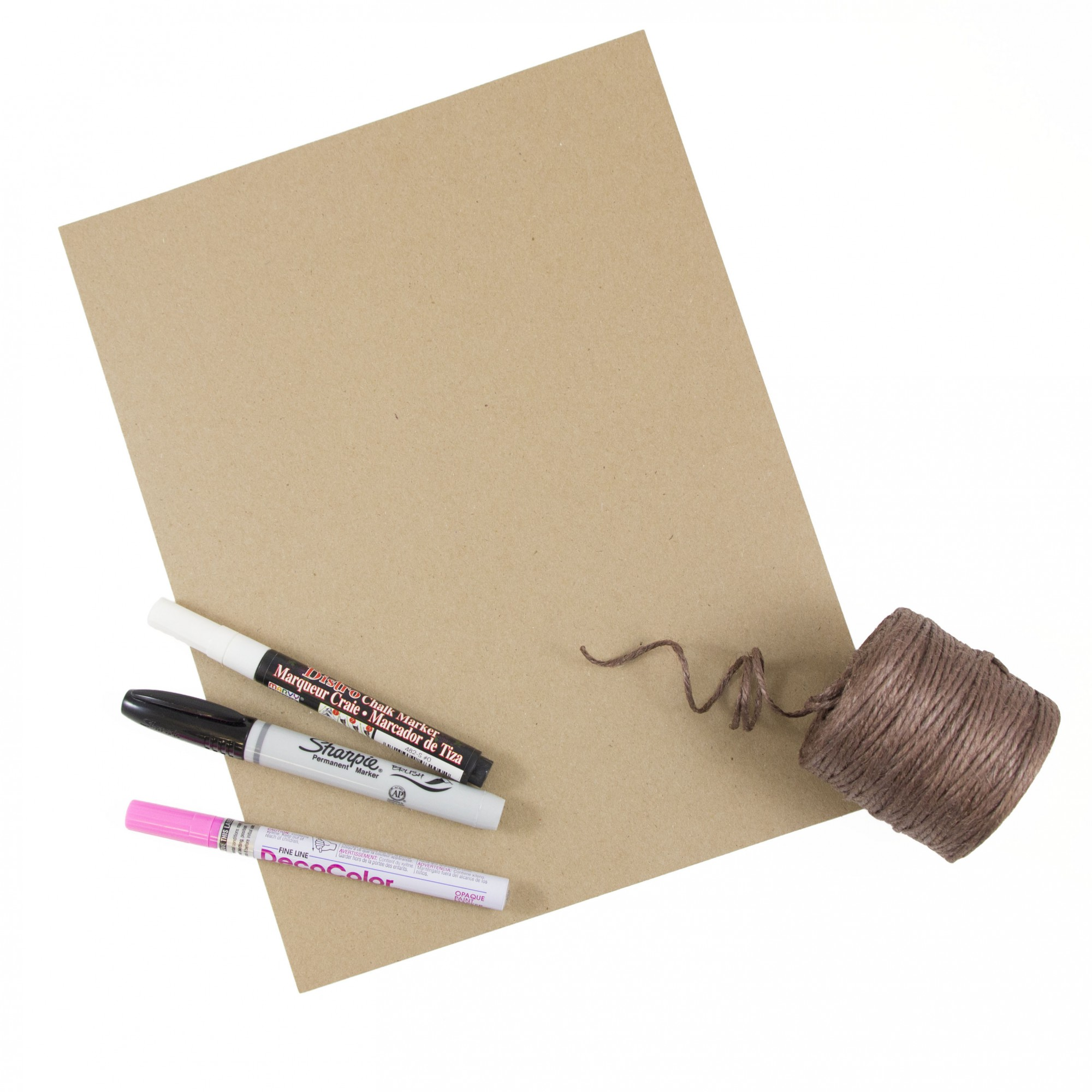 Materials for Last Minute DIY Halloween Costumes: brown kraft paper, twine, sharpie, and paint markers