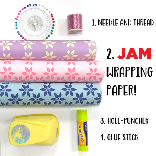 How to Make a 3D Paper Garland, needle and thread, wrapping paper