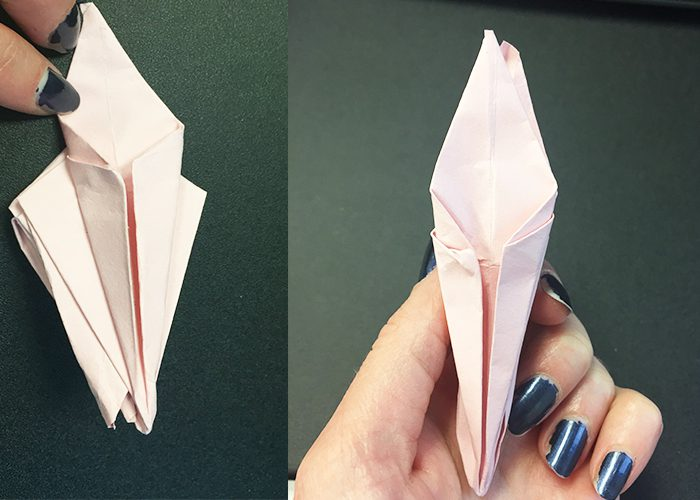 How To Make Paper Origami Easter Lilies, Folding, Flower, holding, paper