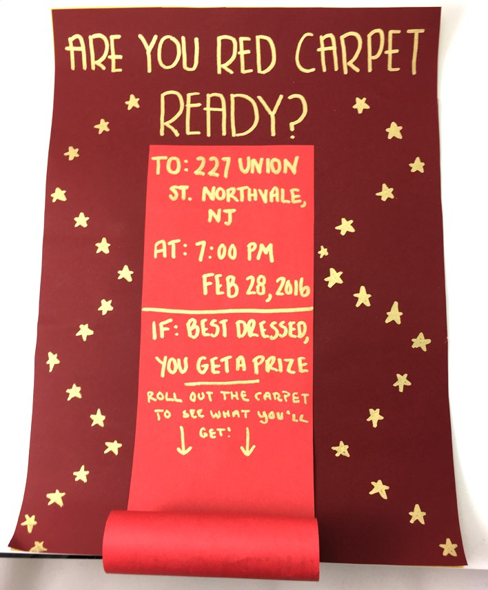 3d red and gold red carpet ready DIY oscar party invites