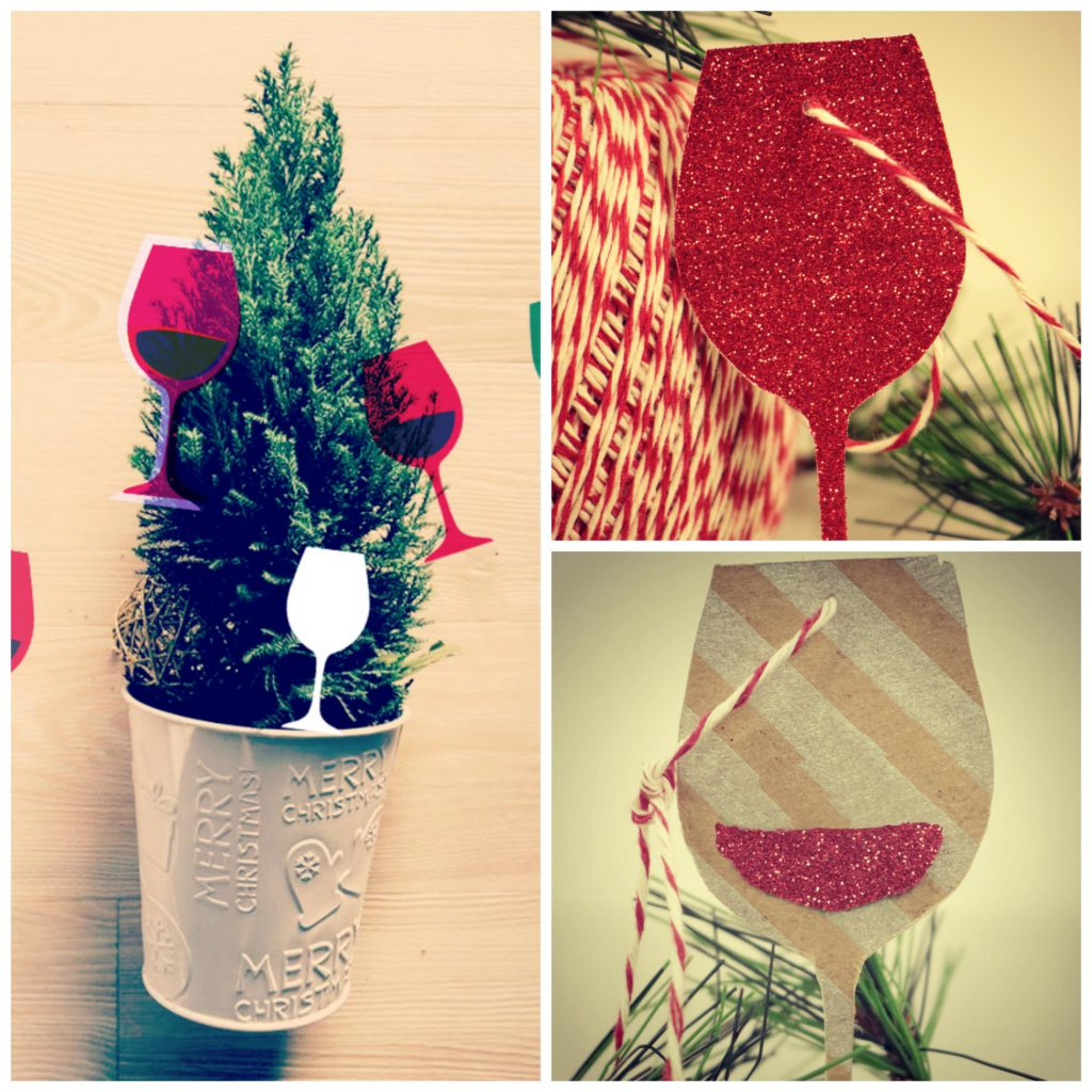 Wine glass ornaments made from silver wrapping paper and dark merlot wrapping paper
