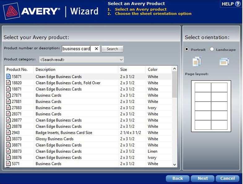 avery wizard, printable business cards, clean edge business cards