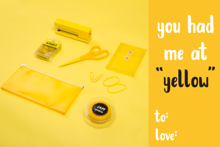 punny valentine's day cards, yellow office supplies, yellow plastic envelopes